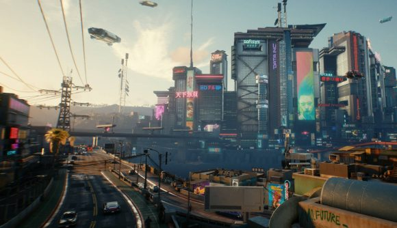 A view of Night City, hover cars, and sky rise buildings in Cyberpunk 2077