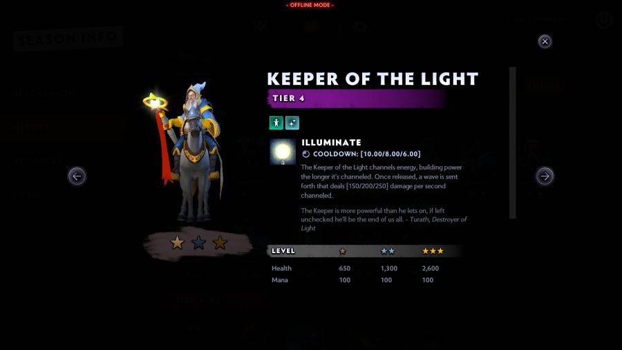dota underlords keeper of the light