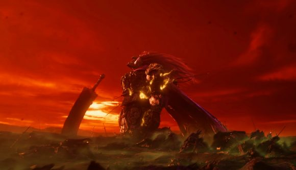 Some dude beside a sword on a barren landscape, blood red sky in the background