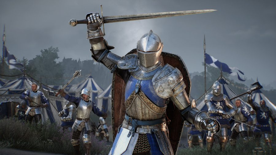 medieval soldiers rallying for battle