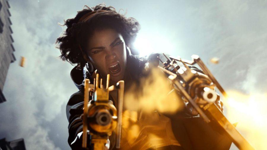 Julianna Blake firing two uzi-looking weapons