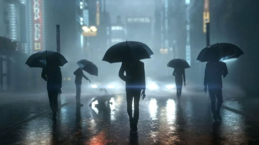 Five silhouetted characters holding umbrellas