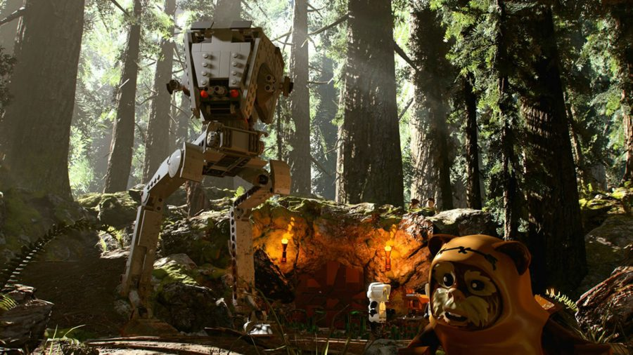 an AT-AT: a giant mech on two legs, plus an ewok: a tiny bear-like creature