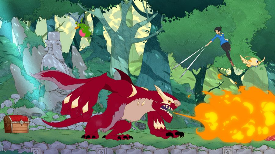 A fearsome red furry creature breathes fire in one of the best anime games, Battle Chef Brigade