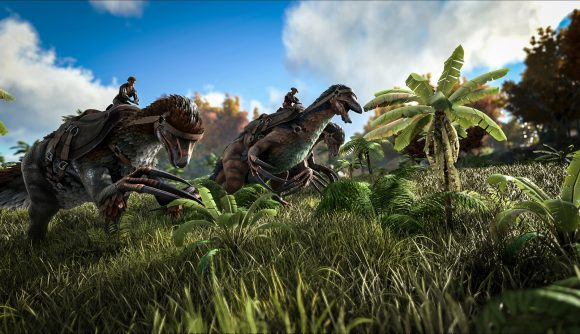 Players riding dinosaurs in one of the best crafting games, Ark: Survival Evolved