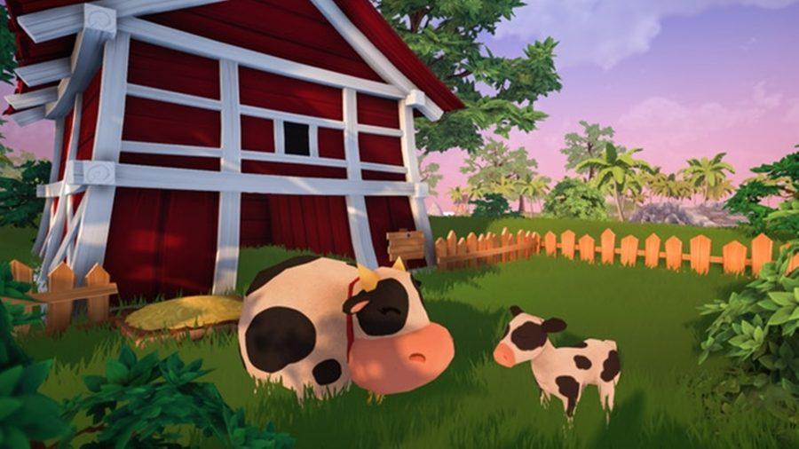 Adorables vaches traînent dans une étable à Garden Paws, l'un des meilleurs jeux d'artisanat