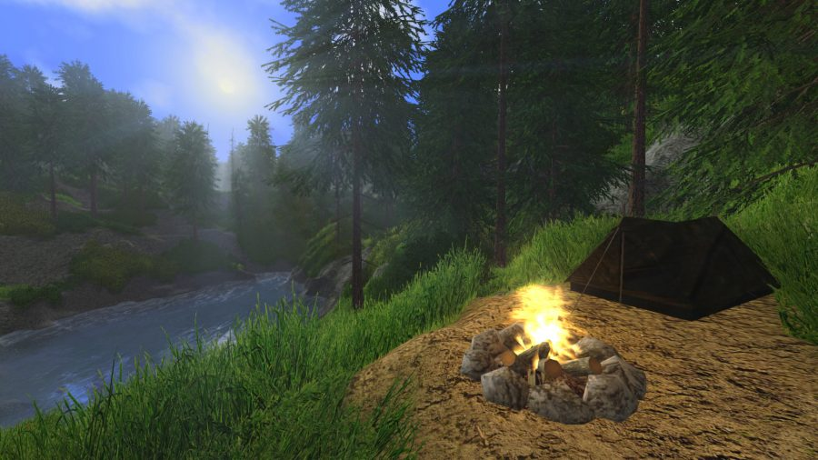 Un feu de camp et une tente près d'une rivière dans Rising World, l'un des meilleurs jeux d'artisanat