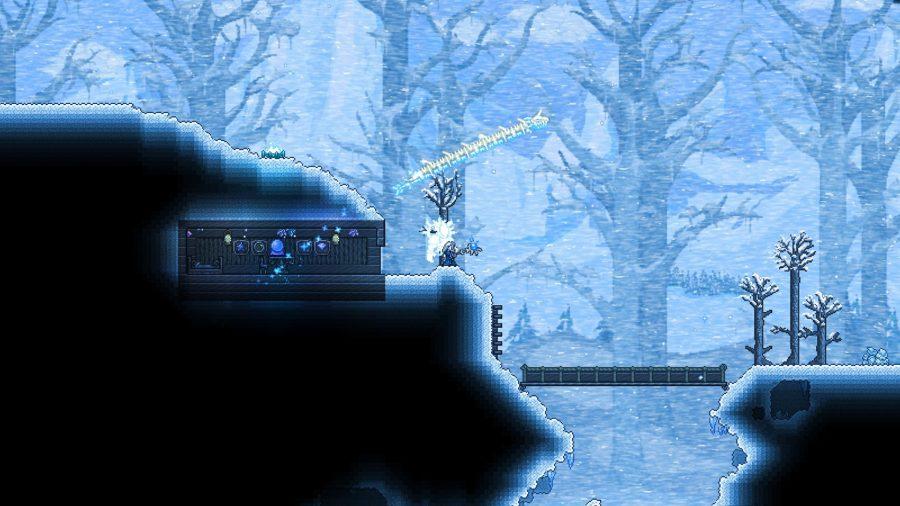 Un monde d'hiver à Terraria, l'un des meilleurs jeux d'artisanat.