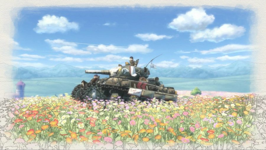 Driving a tank through a beautiful meadow in one of the best tank games, Valkyria Chronicles