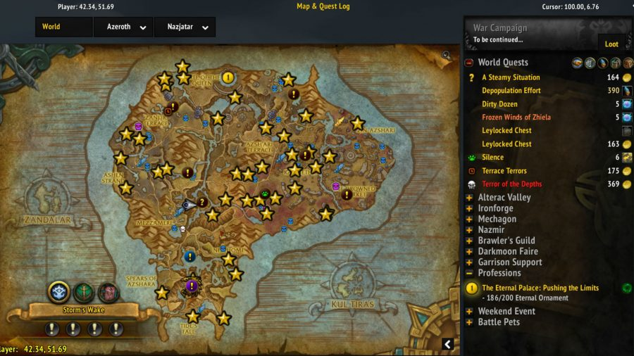 Angry world quests wow addons: A quest log that tracks information via a map, with details that can be expanded on when selected.
