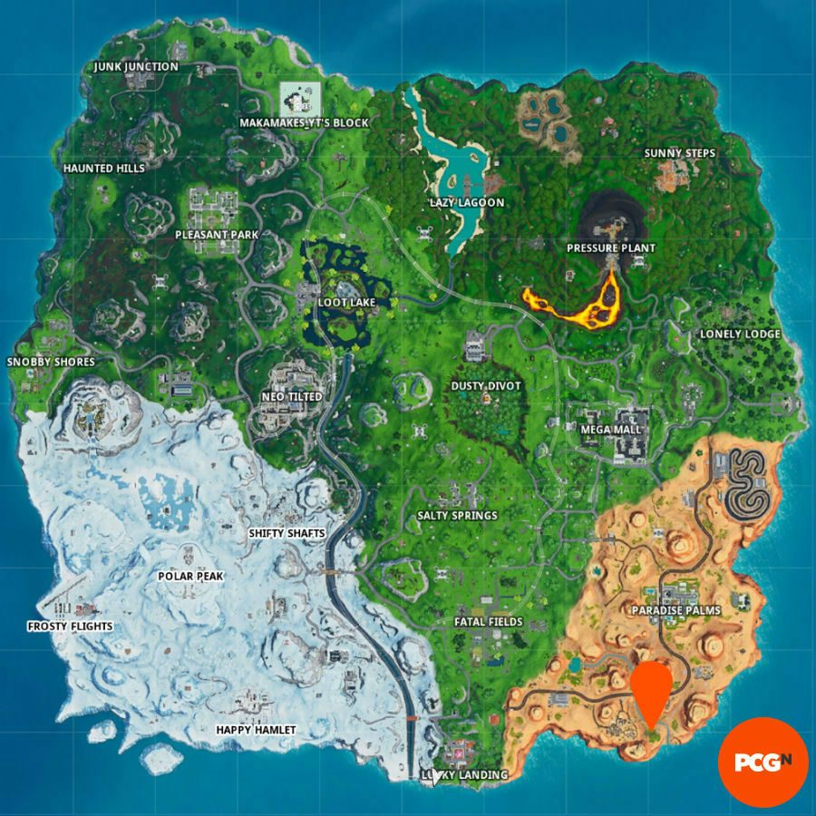 fortnite tiny rubber ducky location map