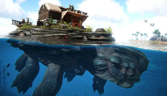 You can tame a giant sea turtle and build a house on its