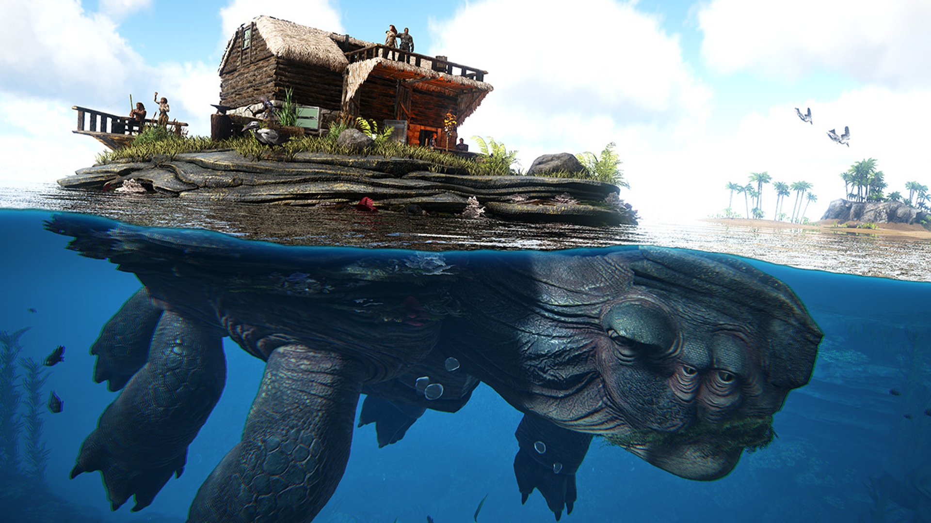 You can tame a giant sea turtle and build a house on its back in Ark