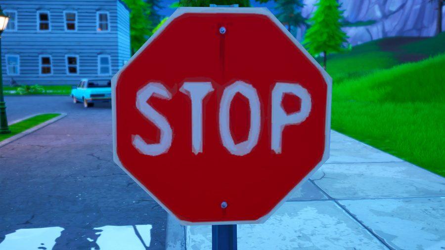 destroy fortnite stop signs