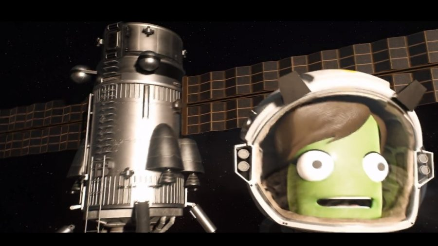 a green-faced Kerbal with a satellite
