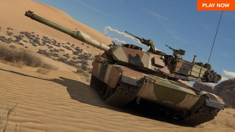A tank driving through the desert in War Thunder.