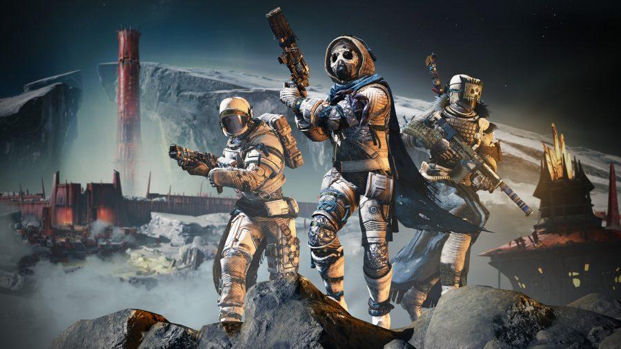 A Hunter, Warlock, and Titan in Destiny 2