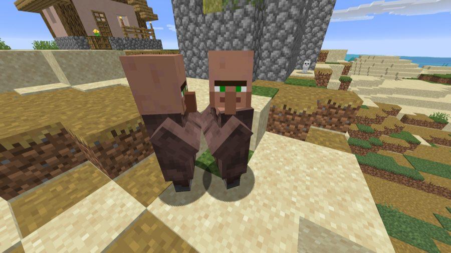 Minecraft villagers at center point
