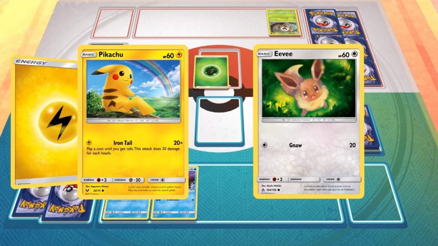 Pikachu and Eevee on the battlefield in the only Pokemon PC game, Pokemon Trading Card Game Online
