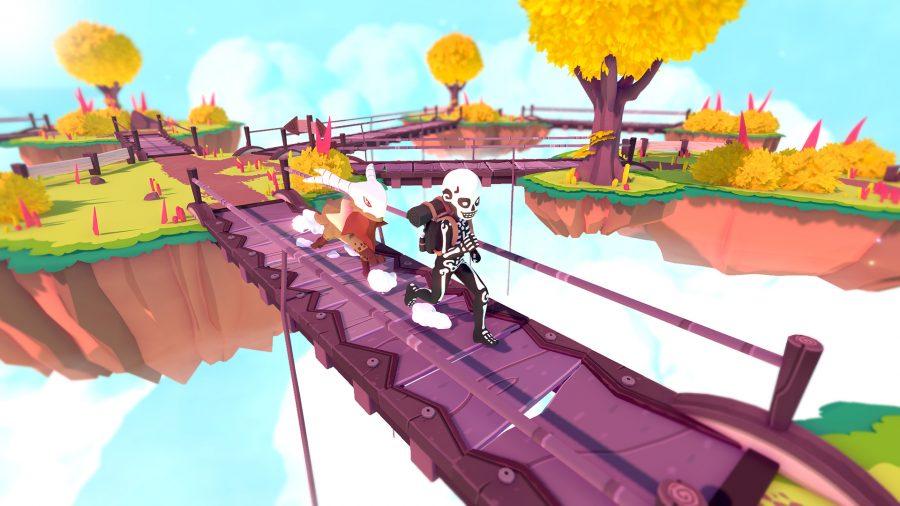 The cool Temtem follows Tamer across a bridge in Temtem, a game like Pokemon on PC