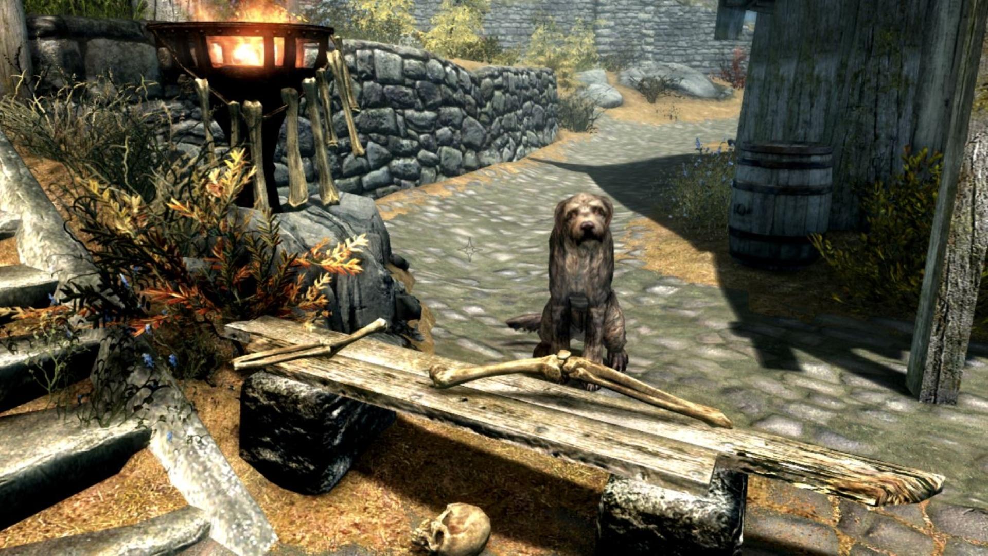 This Skyrim mod adds an adorable dog that sells you human bones