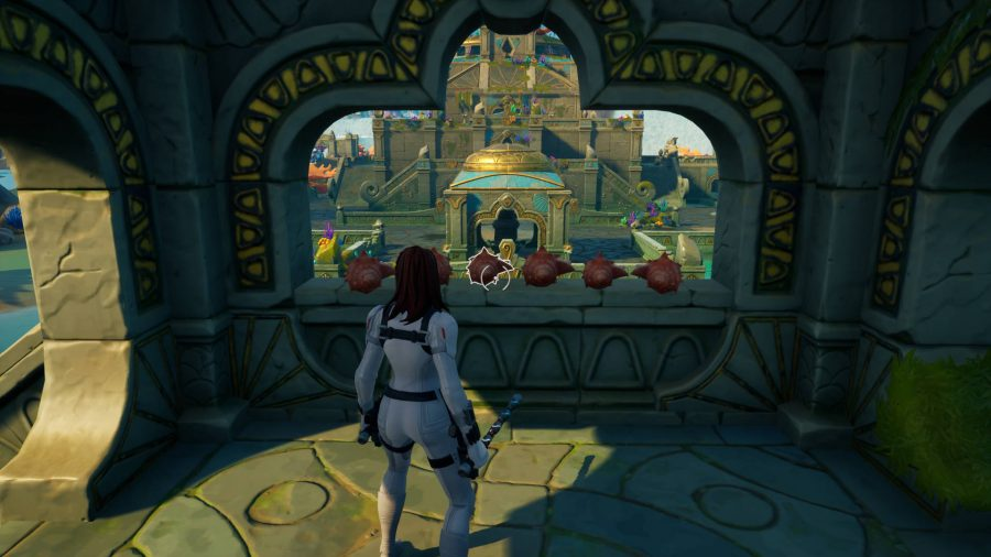 Player is standing next to some conches in one of the small castles in Fortnite's Coral Castle location