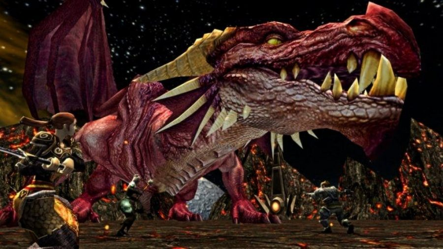 Fighting a huge, toothy dragon in one of the best free PC games, Dungeons and Dragons Online