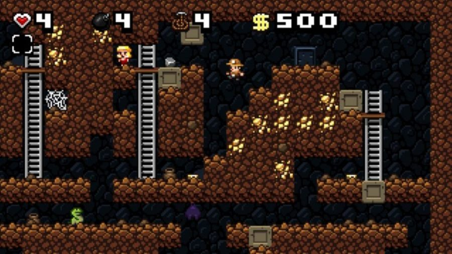 A procedurally generated cave in Spelunky, one of the best free PC games