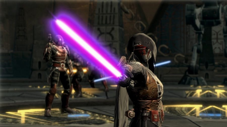 A force user points his purple lightsaber at the camera in one of the best free PC games, Star Wars: The Old Republic