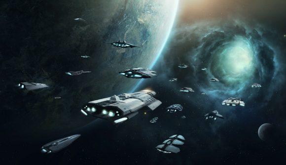 Stellaris menu artwork, showing a fleet of ships about to enter a wormhole