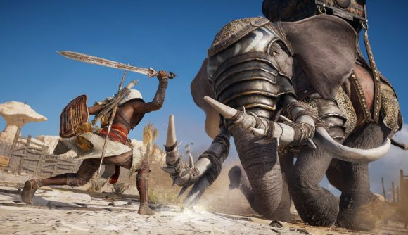 A clash against a war elephant in one of the best action-adventure games, Assassin's Creed Origins