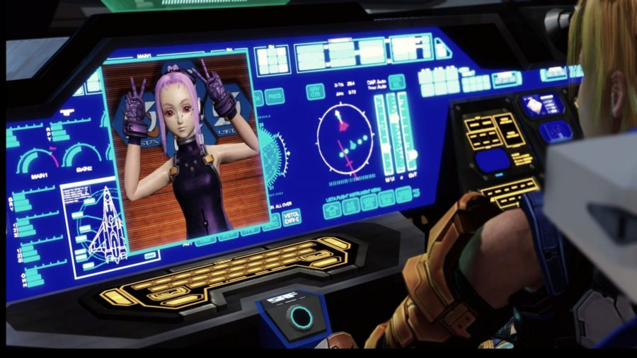 A pink haired anime girl on a screen in Star Ocean: The Last Hope, one of the best anime games on PC
