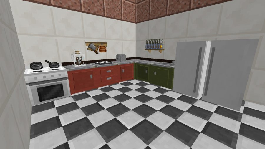 A kitchen in one of the best cooking games, Minecraft, thanks to Cooking with Blockheads mod
