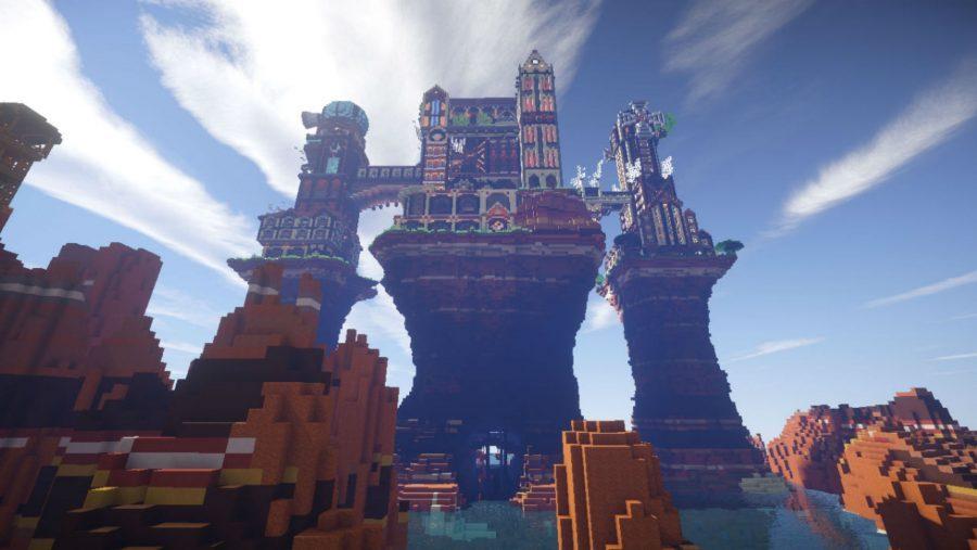 Un château steampunk très cool au sommet d'une falaise dans Minecraft, l'un des meilleurs jeux d'artisanat