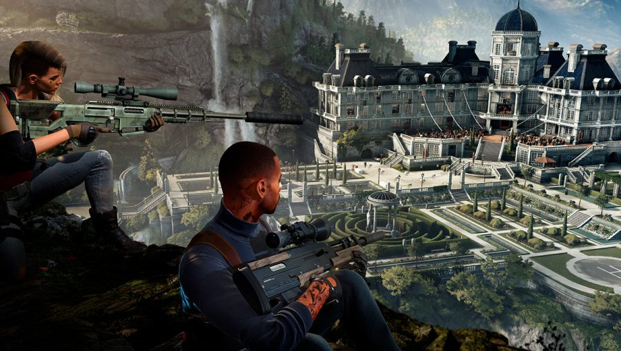 Two snipers survey a gathering at a lavish house in Hitman 2, one of the best sniper games