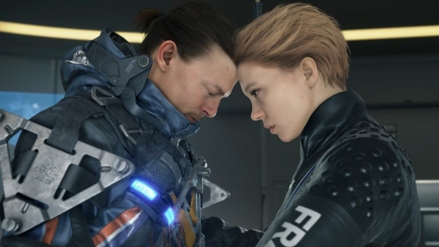Norman Reedus and Lea Seydoux touching heads in Death Stranding