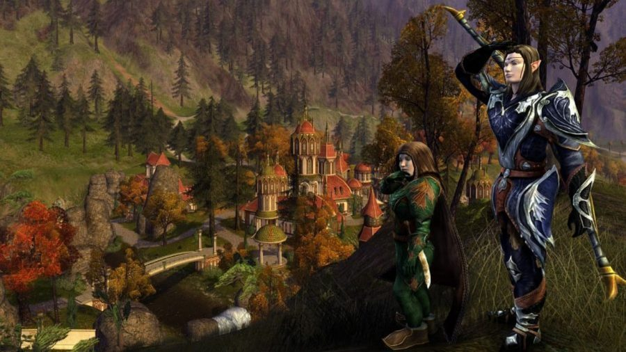 Elves on a hill over a city in Lord of the Rings Online, one of the best free PC games