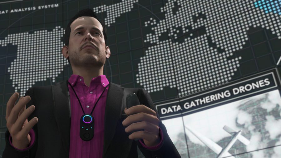 A GTA 5 character standing in front of a screen with information about Data Gathering Drones, which, if we had any, we would put to work discovering more about GTA 6.
