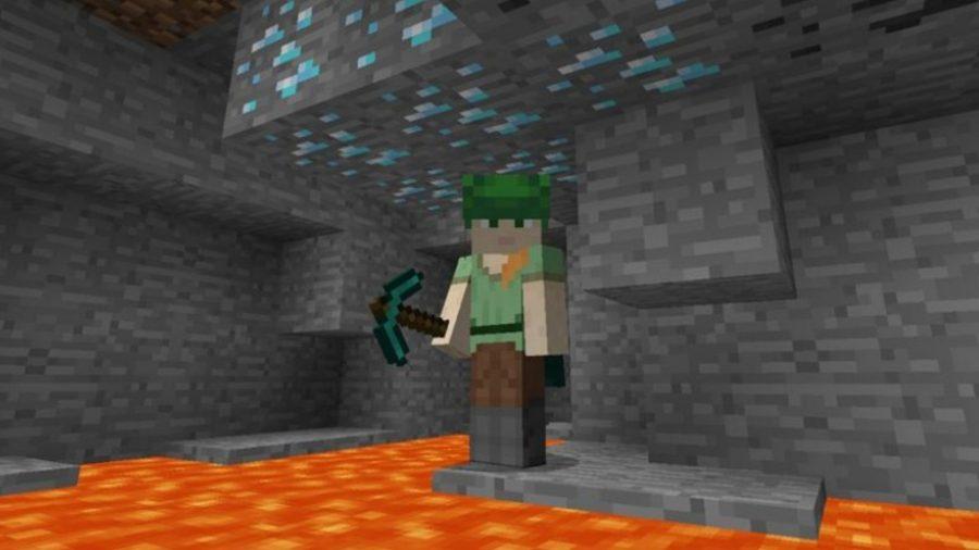 Minecraft diamonds ores and lava