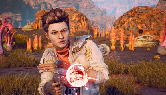 The Outer Worlds companion Ellie firing her gun