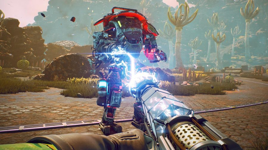 using the shock weapon in The Outer Worlds