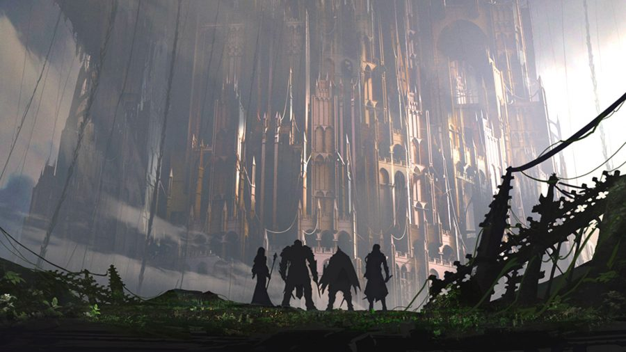 a group of adventurers staring at a vast bastion, which may be the Tower of Babel