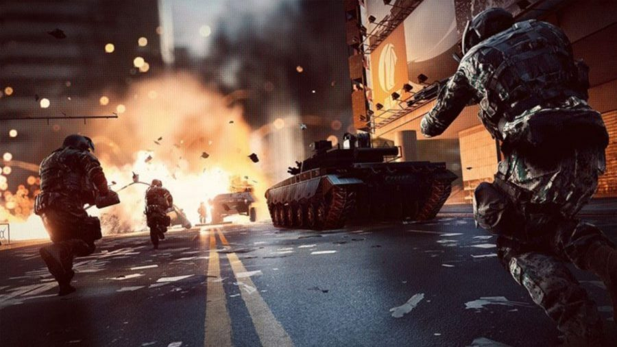 An explosion as tanks advanced down a city street in a cool tank game: Battlefield 4