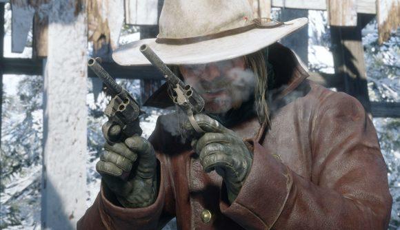 An bearded cowboy wielding two pistols