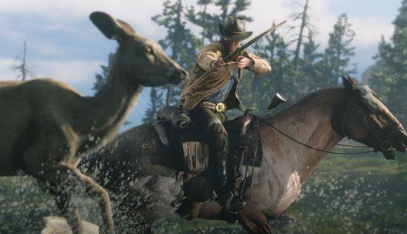 A cowboy hunting deer on horseback