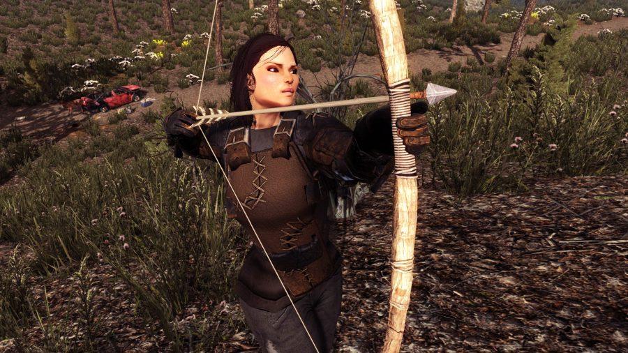 Une dame pointe sa flèche sur une menace invisible dans l'un des meilleurs jeux d'artisanat, 7 jours pour mourir