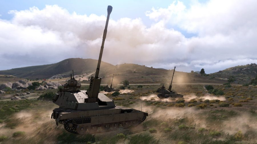 Tanks triumphantly raising their weaponry in one of the best tank games, Arma 3