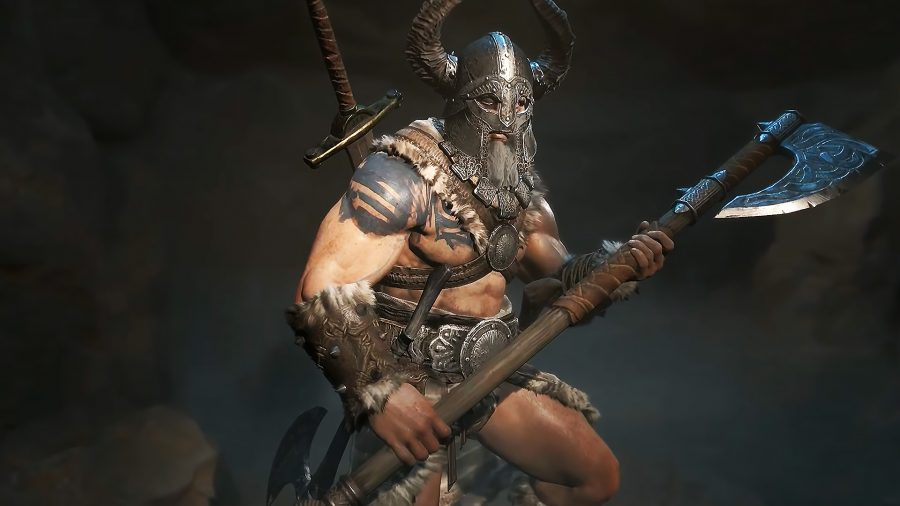 A barbarian armed with four weapons while wielding an ax