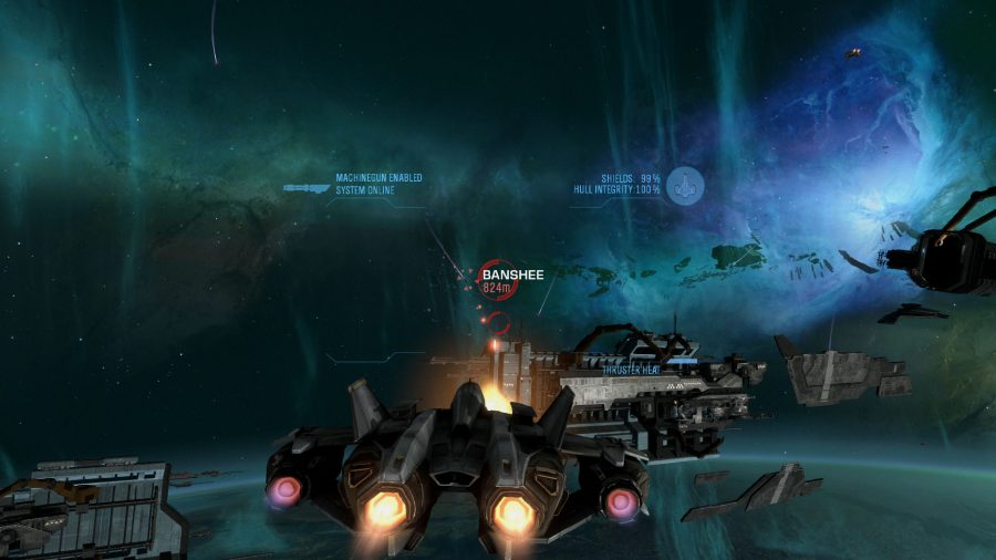 Halo Reach spaceship in front of larger craft
