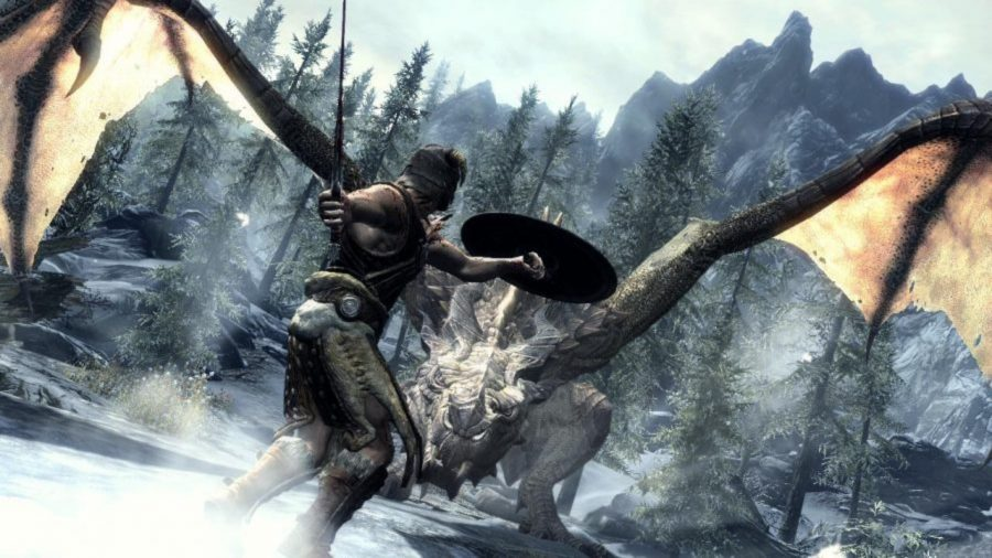 Fighting a dragon in Skyrim, one of the best RPGs on PC